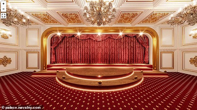 Navalny has claimed a theatre - fitted with red curtains and a golden ceiling - is among a series of luxurious rooms inside the palace