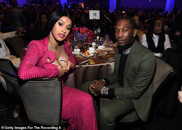 Changes:The 2021 Clive Davis Pre-Grammy Gala, which traditionally takes place the night before the Grammy Awards, is being moved to May this year (Cardi B and Offset pictured at the 2020 Gala)