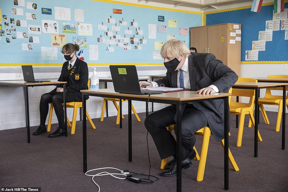 Summer lessons will be offered to children leaving primary school and all secondary pupils as part of a £700million catch-up package designed to reverse the impact of Covid on education. Pictured: Boris Johnson takes part in an online lesson during a visit to Sedgehill School in Lewisham, south east London, on February 23