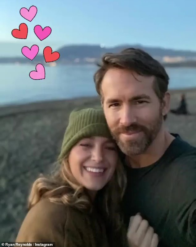 Sweet post: The 44-year-old actor posted a photo of himself and Blake, 33, hugging on a beach on Instagram Stories that he adorned with red and pink hearts