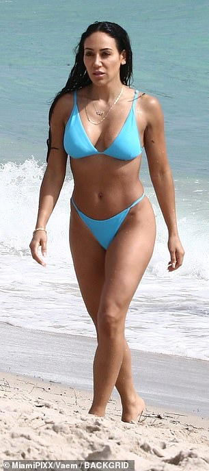 in a light blue hue, adding matching bottoms