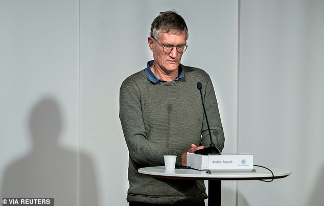 Sweden's stance of face masks during the pandemic has long been controversial with Anders Tegnell, the state epidemiologist (pictured), repeatedly questioning their effectiveness and pushing for the more hands-off approach