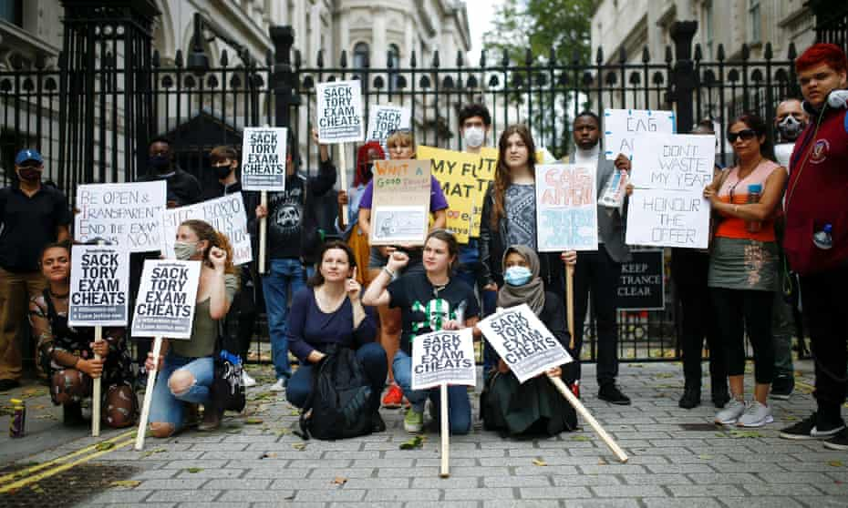Students outside Downing St protesting against the government's handling of exam results.