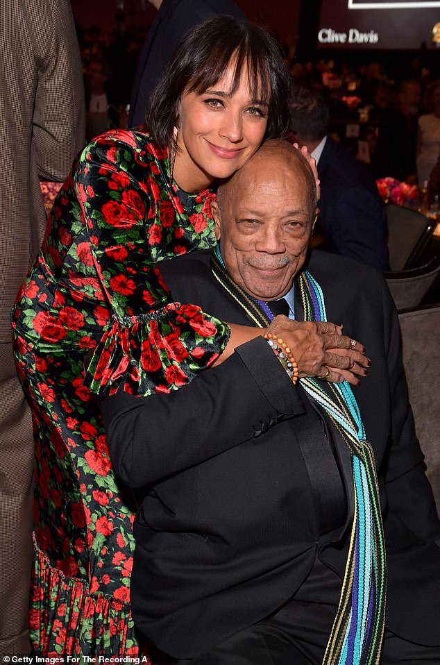 Making it work:The Clive Davis Pre-Grammy Gala was forced to pivot this year in light of COVID-19 and has already hosted a virtual part one soiree in January when the Grammy Awards were originally scheduled, now part two is being delayed (Rashida and Quincy Jones pictured at the 2020 Gala)