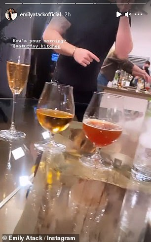 Wine O'Clock: She panned her camera around showing different size glasses filled with alcoholic beverages from beer to wine to gin and tonic