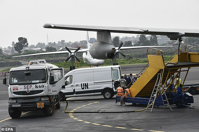 Pictured: A coffin is loaded onto an Italian Air Force plane at Goma airport during the repatriation of the bodies of Italian Ambassador and an Italian Carabinieri police officer in Goma, Democratic Republic of Congo, 23 February 2021