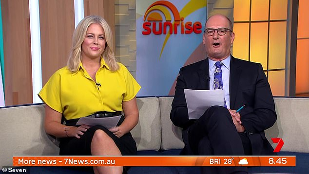 Revelation: The candid admission comes after Sam admitted on the Kyle and Jackie O Show that she has thought about retirement. Pictured with her Sunrise co-hostDavid 'Kochie' Koch
