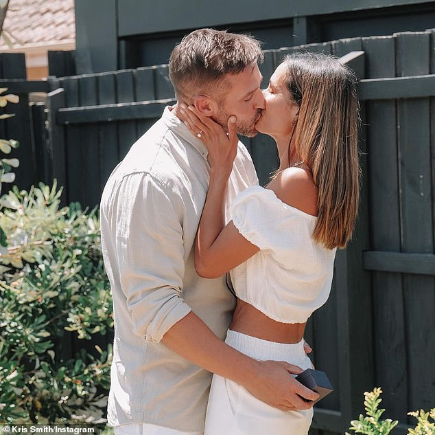 Ready to wed: Kris popped the question to Sarah back in December after three years together. They welcomed their first daughter Mila in 2018, followed by Frankie in 2019