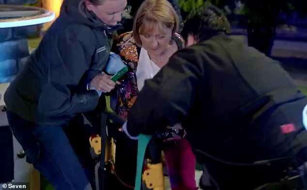 Ouch:In a matter of minutes, the medical staff had wrapped Denise's arm in a sling and escorted her off-set in a wheelchair