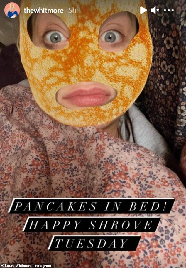 Banter; Pregnant presenter Laura Whitmore enjoyed some light relief as she tucked into pancakes in bed