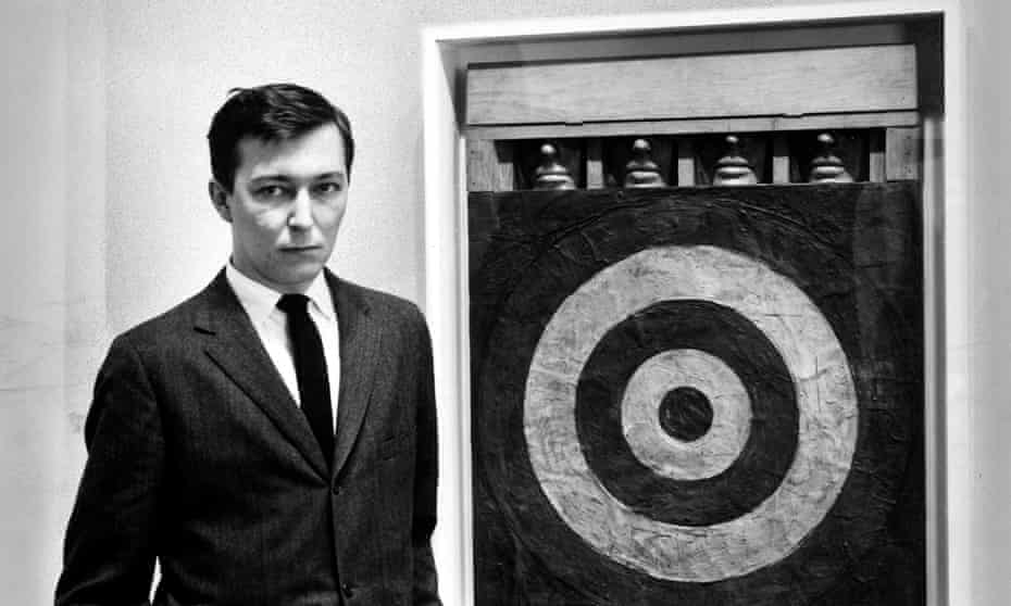 Jasper Johns with one of his mixed-media Target series.