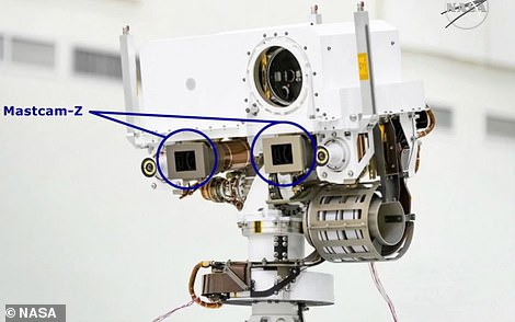 Pictured is the two 'eyes' of Perseverance's Mastcam-Z