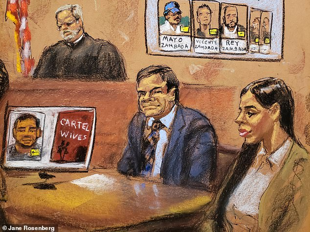 Guzman and his wife are pictured in a courtroom sketch from January 31, 2019