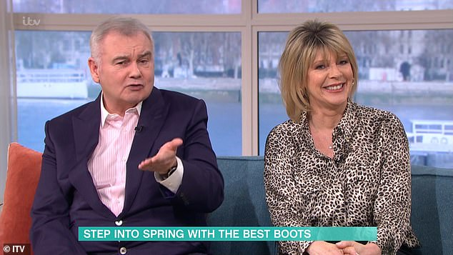 Oh dear: The presenter, 49, was delivering a feature about the best boots to brighten up spring which prompted a series of sarcastic opinions from the Northern Irish star, 61