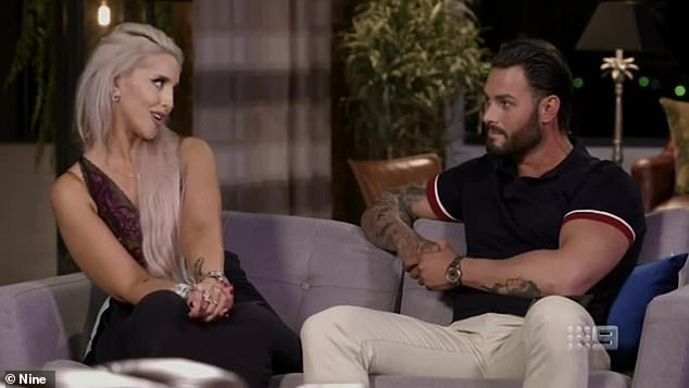 Up in arms:In 2019, Dean leaped to the defence of MAFS star Sam Ball (right) when Clementine commented on his relationship with his TV bride Elizabeth Sobinoff (left)