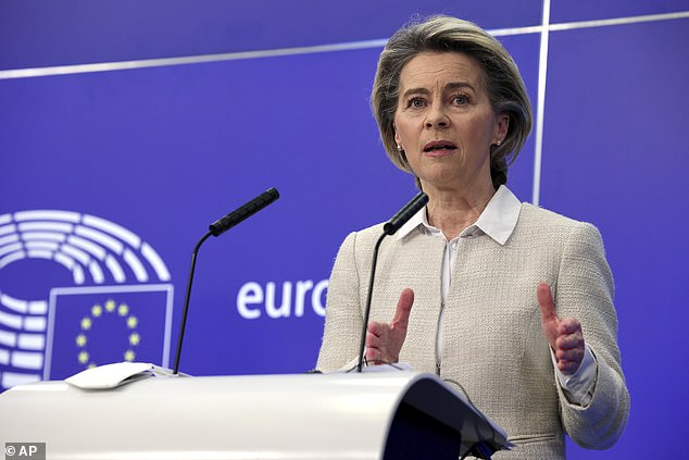 Canada's supplies from Europe have come under pressure just as the EU goes to war with manufacturers over deliveries to the bloc (pictured, EU chief Ursula von der Leyen)