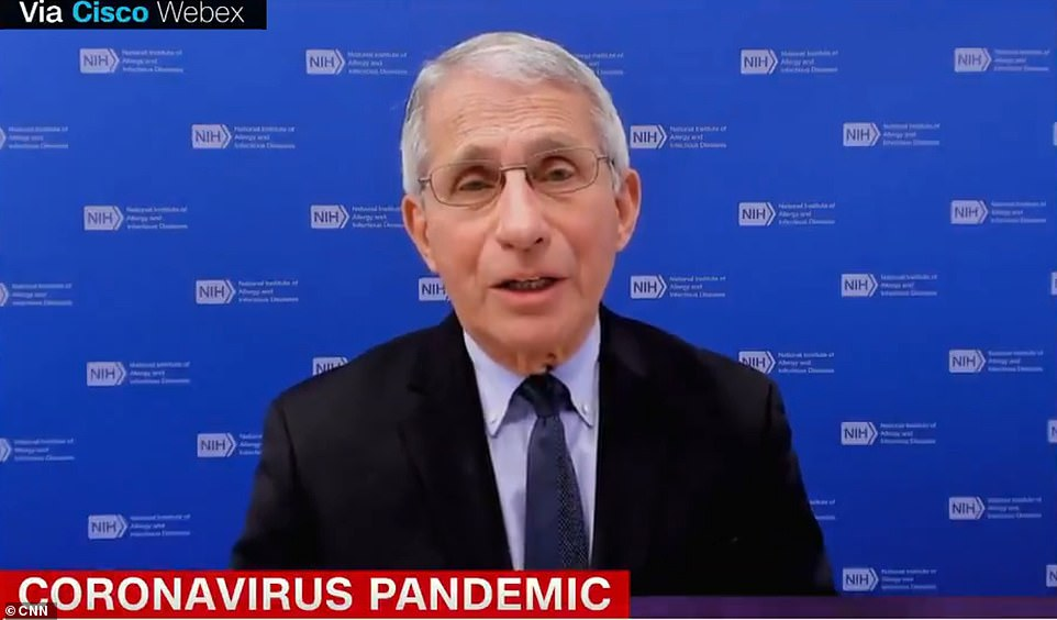 Dr Anthony Fauci warned Americans in an interview on CNN on Tuesday (pictured) to not get 'complacent' and to continue following public health measures, such as masking and social distancing