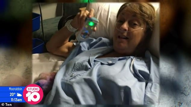Hospital: In October, Denise supplied Studio 10 with this photo of herself recovering from her shoulder injury in hospital, but gave little information about what had actually happened