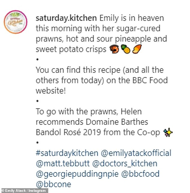 Delicious: Emily cooked up a storm on the food show with a dish of sugar-cured prawns, hot and sour pineapple and sweet potato crisps, paired with Bandol Rosé 2019
