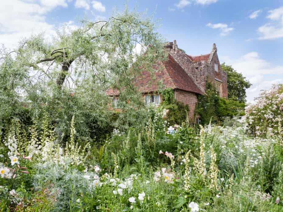 View of Priest's House from the White Garden at Sissinghurst Castle.