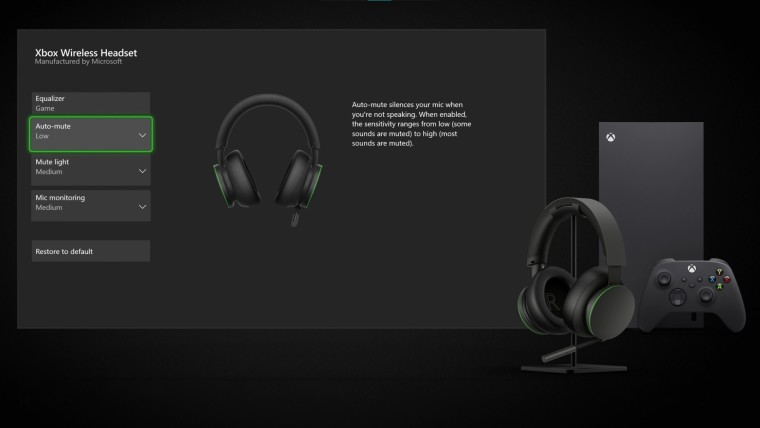 Xbox Wireless Headset settings in the Xbox Accessories app