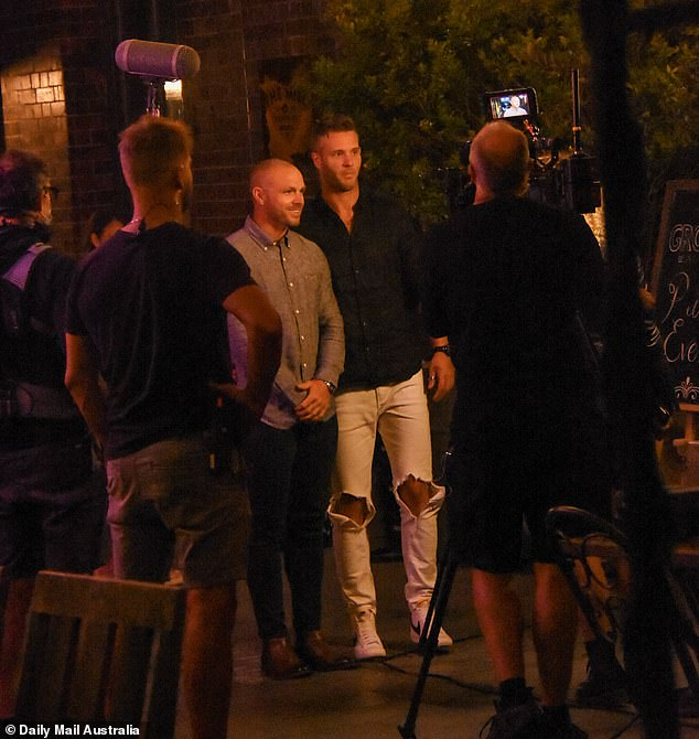 Action! The reunion was filmed over two days at Sydney's Ground of Alexandria on this week after the usual Lilyfield warehouse location was booked out. Pictured: Cameron Dunne (left) and Jake Edwards (right)