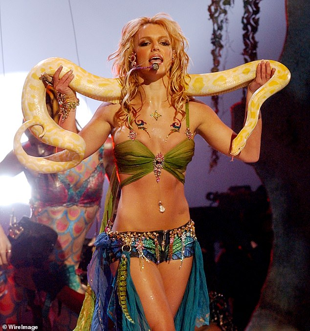 Her heyday: Spears performs at the The Metropolitan Opera House at Lincoln Center in New York Cityat the 2001 MTV Video Music Awards