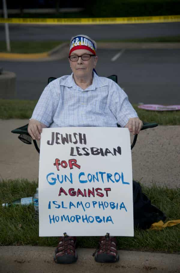 Journey … Biren protests outside the National Rifle Association headquarters in Virginia in 2016.