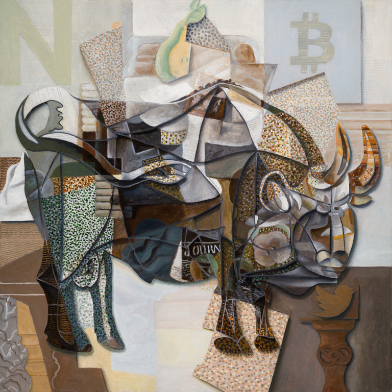 Trevor Jones' 'Picasso's Bitcoin Bull'. A painted artwork sold as an NFT, it was one of the first pieces that shot Jones to NFT stardom. (Photo: Trevor Jones)