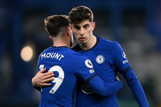 Mason Mount hugs Kai Havertz during Chelsea's Premier League clash with Everton