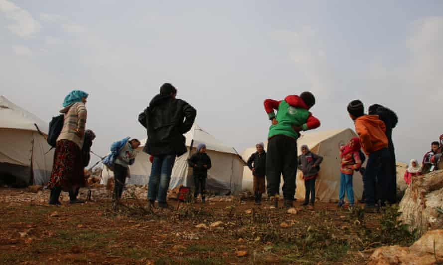Syrian children at a camp.