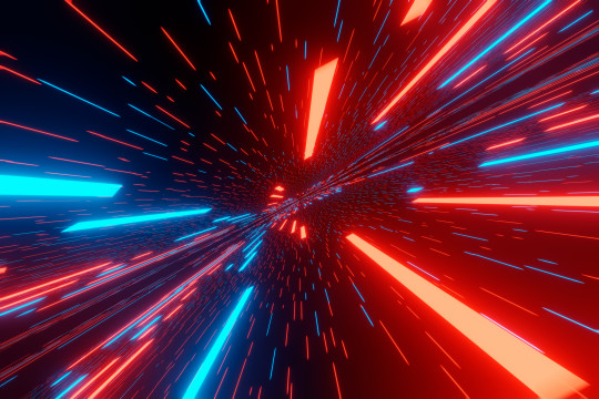 Traveling in space at super speeds, the effect of motion blur. Futuristic abstract background. Visualization 3D Rendering.