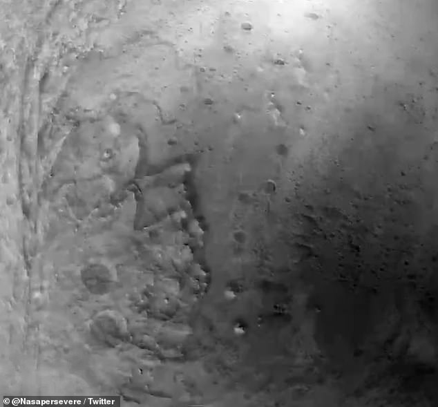 Perseverance used its Terrain-Relative Navigation system during the descent, which helped it find a landing site through a series of pictures - and NASA stitched them together to create the video