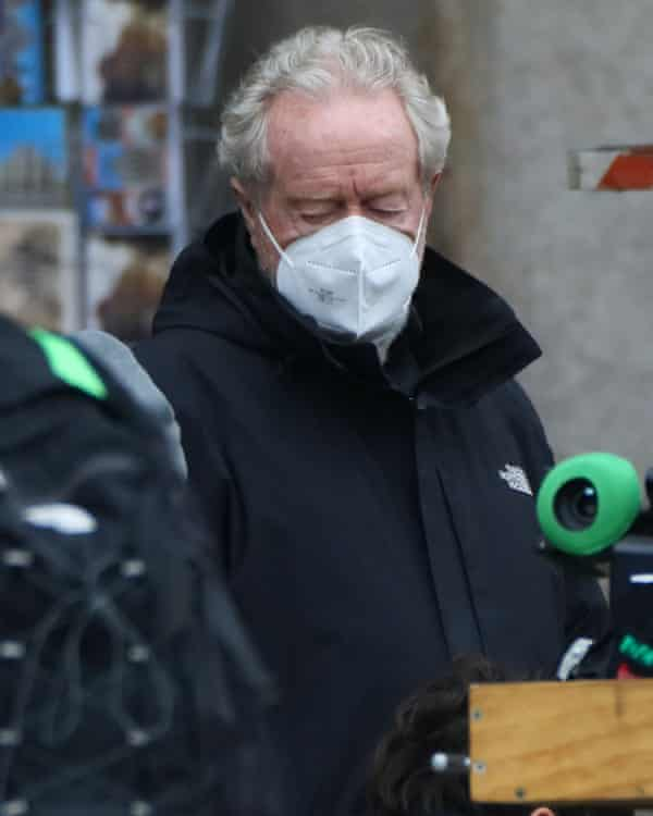 Director Ridley Scott on the set of House of Gucci in Milan.