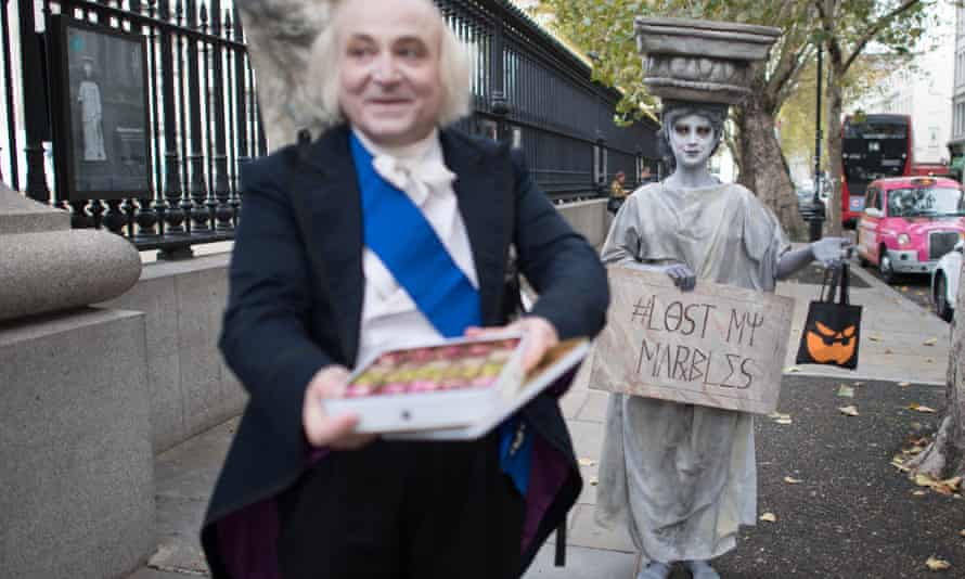 Campaigners dressed as Lord Elgin and a Parthenon marble demonstrate outside the British Museum in October 2020 calling for the return of the sculptures to Greece.