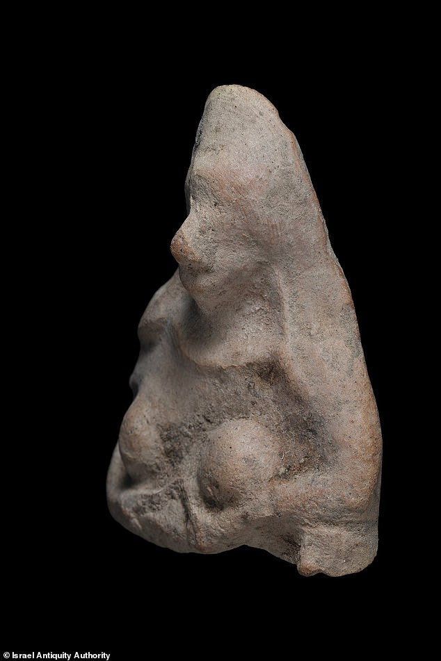 Ceramic figures of bare-breasted women were common in the ancient Middle East, often used to invoke prosperity or good luck. Experts believe this mold-made amulet was used for protection during a pregnancy or for an infant.