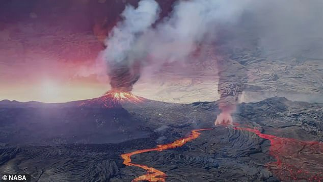The thin crust is 'much too feeble' to support volcanic mountains but the flat terrain may have been 'cracked like an eggshell' due to tidal flexing