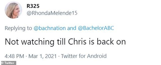 Boycott: Some viewers have tweeted they would boycott the franchise until Chris made his return