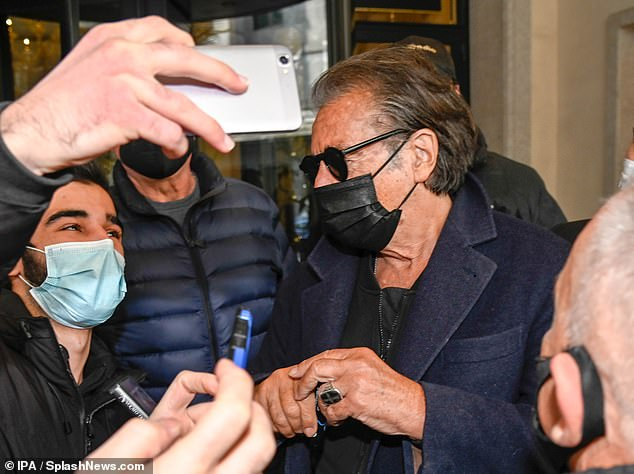 Hi there!The iconic actor, 80, who plays Aldo Gucci in the movie, waved at his supporters before he took selfies and signed autographs