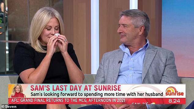 Emotional: Sam, who was supported by her husband, Richard Lavender, and her Sunrise co-hosts on Thursday, took aim at the wider Australian media as she bid farewell to viewers