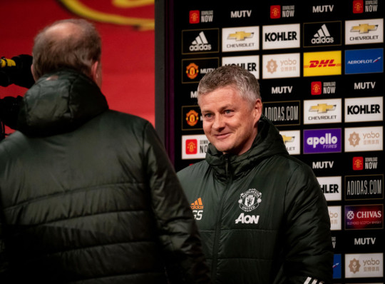 Manchester United Head Coach / Manager Ole Gunnar Solskjaer is interviewed prior to the Premier League match between Manchester United and West Ham United at Old Trafford on March 14, 2021 in Manchester, United Kingdom. Sporting stadiums around the UK remain under strict restrictions due to the Coronavirus Pandemic as Government social distancing laws prohibit fans inside venues resulting in games being played behind closed doors.