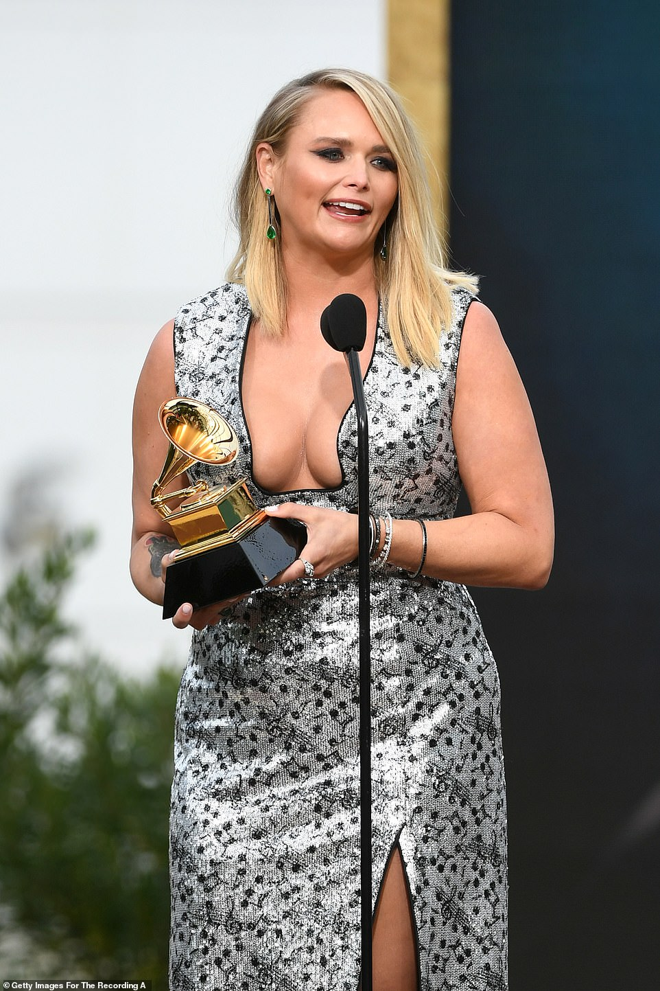 Golden:The second award of the night was given out an hour and five minutes into the show as Best Country Album was given to Miranda Lambert for Wildcard