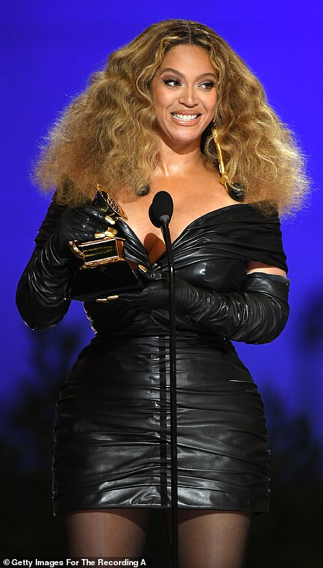 Proud: The 39-year-old singer became the most decorated singer in the history of the gala event as she earned Best R&B Performance for Black Parade