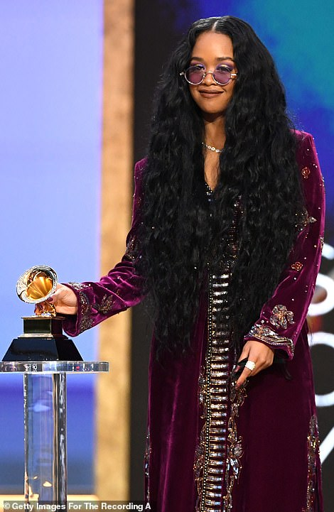 Purple reign: The 23-year-old half-Black, half-Filipino artist was honored for the track I Can't Breathe