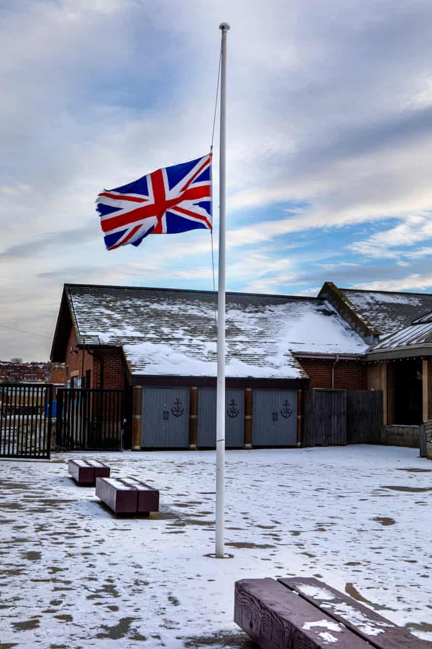 The Union Flag flies at half mast in Whitby.