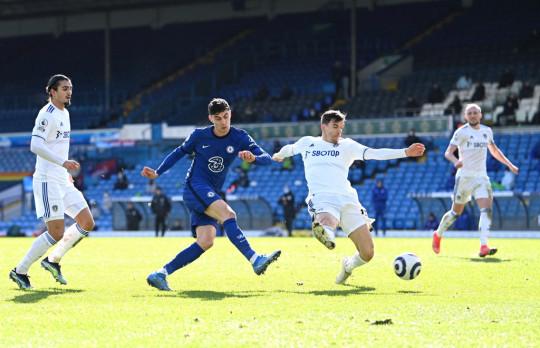 Kai Havertz takes a shot during Chelsea's Premier League clash with Leeds