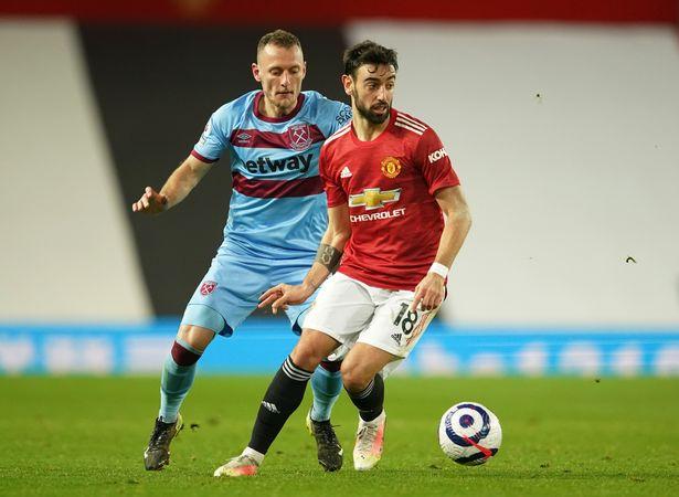 Bruno Fernandes in action against West Ham