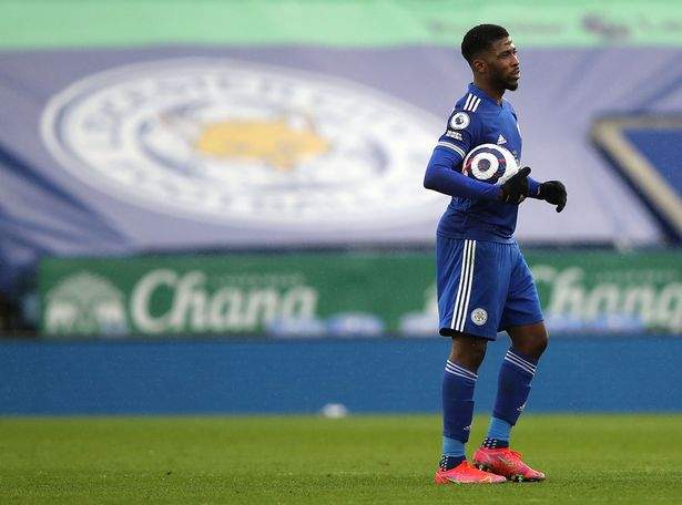 Leicester City's Kelechi Iheanacho celebrates his hat trick with the match ball