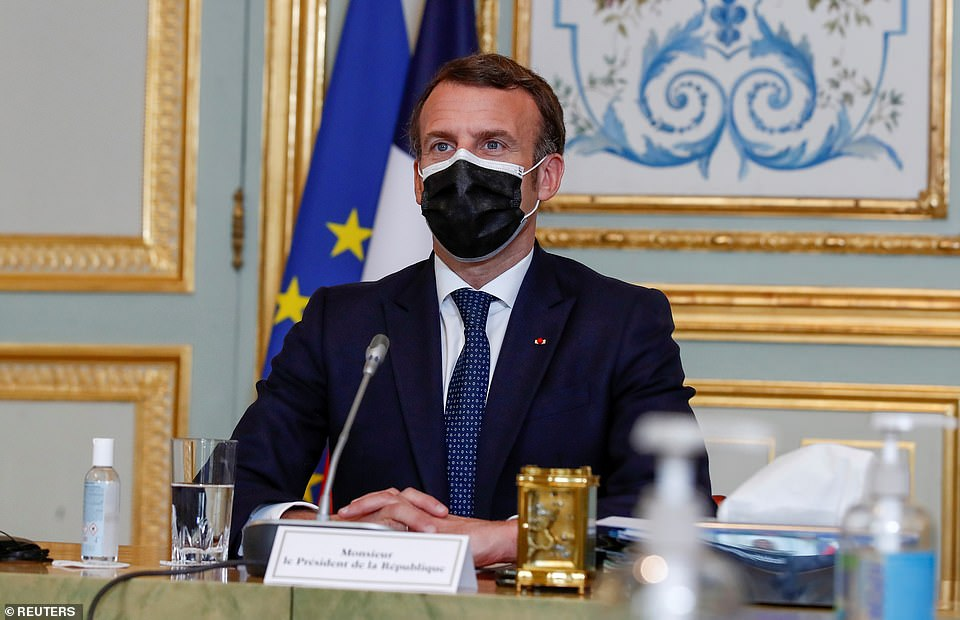 French President Emmanuel Macron attends an EU summit video conference from the Elysee Palace in Paris