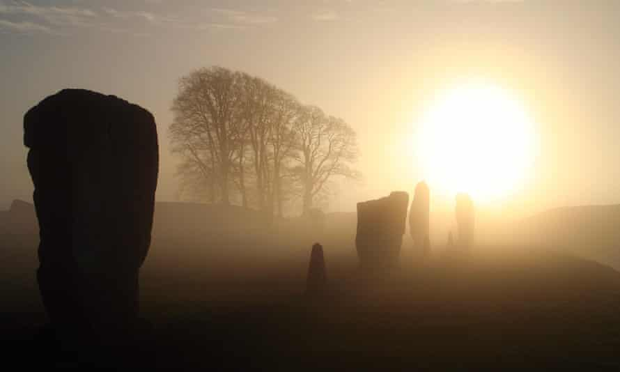 Misty mountain hop ... Avebury Stone Circle at dawn.